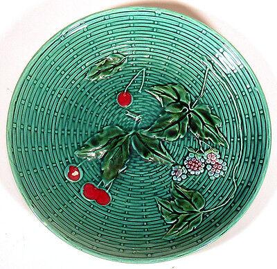 Antique MAJOLICA Plate Dish CHERRIES BERRIES George Schmider G. S. ZELL Germany