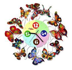 David Gerstein Object Spring Time Clock butterflies wall Clocks Laser cut steel