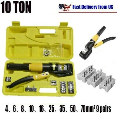 10 Ton Hydraulic Wire Battery Cable Lug Terminal Crimper Crimping Tool W Case
