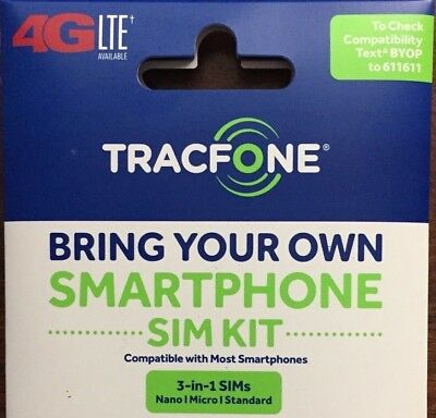 Tracfone 4G Lte Sim Card   All 3 Sizes In 1   At T Wireless Network
