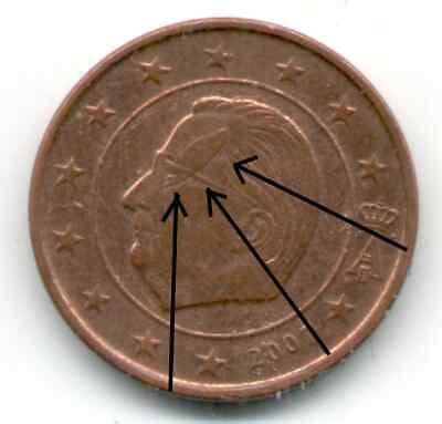 1 Euro cent 2007 Belgique, FAUTE, magnifique surplus de métal sur la tête du roi