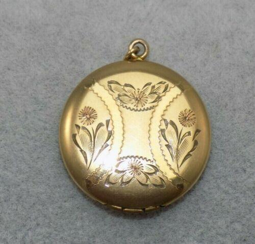 """Vintage 1"""" Round Photo Locket 1/20 12K Gold Filled Etched Flower Motif"""