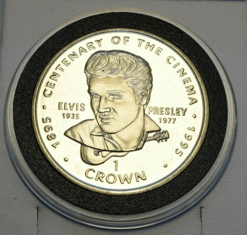 1996 Gibraltar Centenary of the Cinema Elvis Presley Commemorative 1 Crown Coin