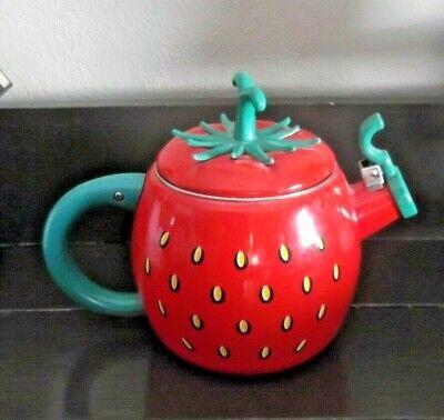 Kamenstein Whistling Red Strawberry Enamel Tea Kettle stainless steel Rare!