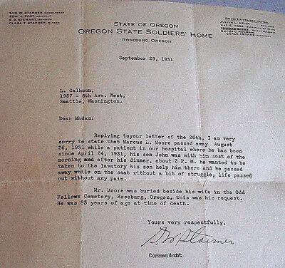 Vintage paper letter orig. Oregon State Soldiers Home man dies on toilet, 1931