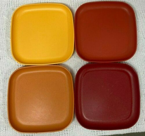 Tupperware 8 Inch Square Luncheon Plates No 1534 Lot Of 4 Harvest Colors USA