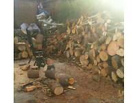 Chopped and split logs