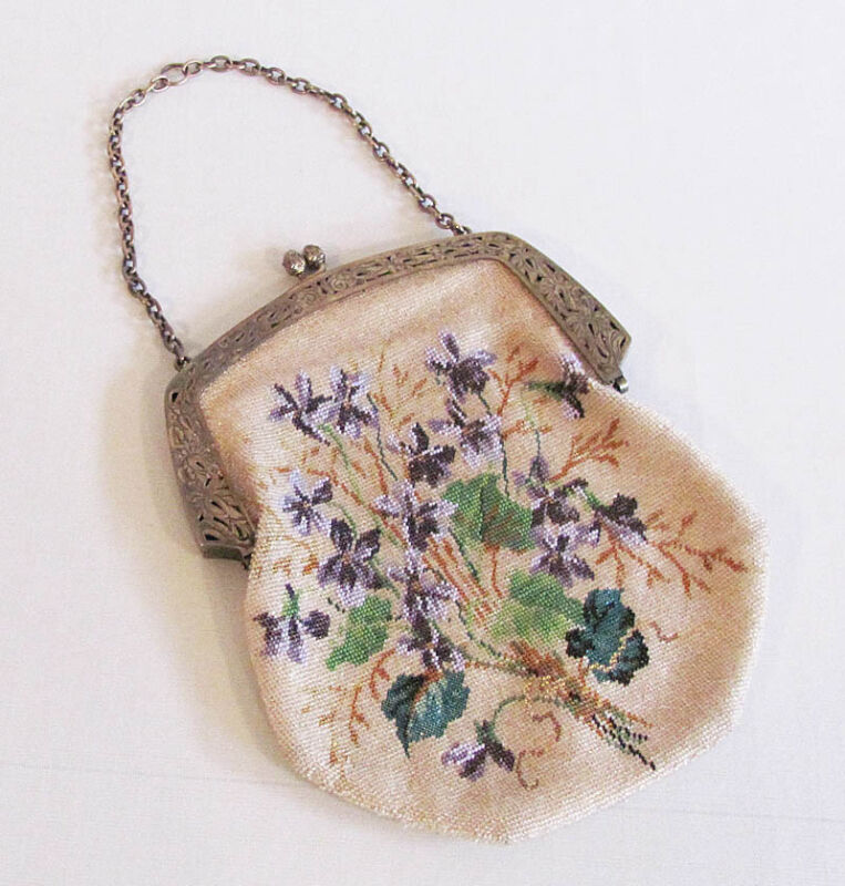 Antique Micro Beaded Violets Sterling Silver Frame Chatelaine Purse