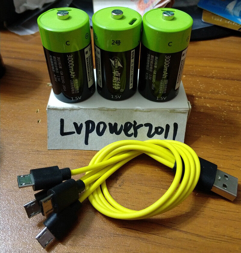 3Pcs ZNTER 1.5V 3000mAh Rechargeable C Size 4500mwh Li-Po Battery +usb cable