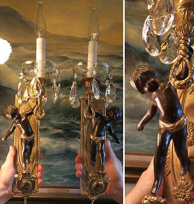PR Blackamoor Vintage gilt bronze Italy Cherub sconces lamp crystal brass ITALY