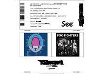 2 x Foo Fighters tickets, (Standing/pitch), London Stadium Stadium, Saturday 23rd June