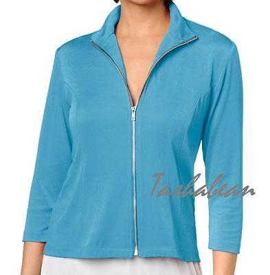 Slinky Brand 3/4-sleeve Zip Front Jacket $49.90 Pool Blue Xs With Tags