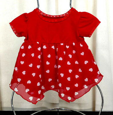 Baby Girl Dress Size 6-9 Month Red White Hearts Tutu Short Sleeve Polka Dot