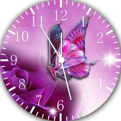 Purple Butterfly Frameless Borderless Wall Clock E21 Nice Gifts or Home Decor