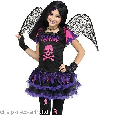 Mädchen Dunkel Gefallener Engel Schädel Fee + Wings Halloween Kostüm Kleid