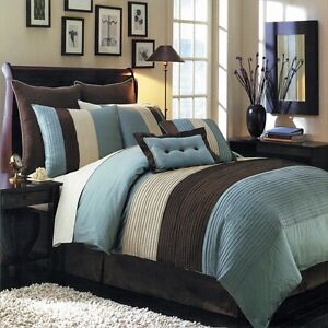 Reversible Blue Beige & Brown Luxury Stripe 8 Piece Bedding Comforter Set