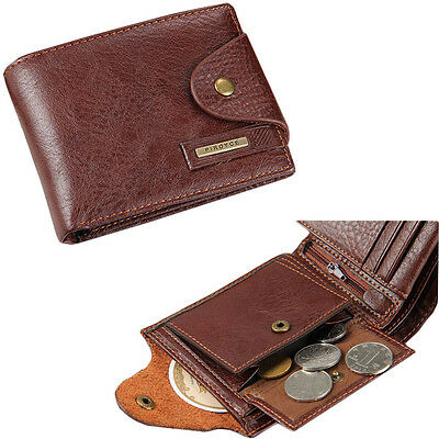 Men's Bifold Leather Card Holder Wallet with Flap Coin Pocket Convenient Purse ()