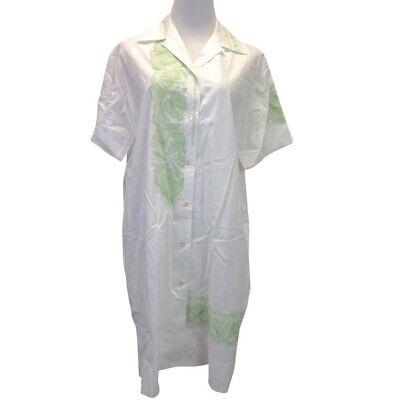 Acne Studios Jusso Pop Embroidered Shirt Dress Sz 34 XS Womens White Green New