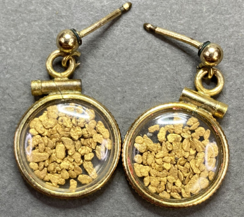 Vintage 1/20-10k GF Placer 22ct Gold Nuggets Pickers  Earrings Coin Edge Bezel