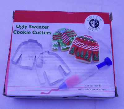 Ugly Christmas Sweater Cookie Cutter Set metal Decorator Icing pen  ()