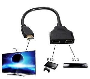 2 in 1 hdmi kabel splitter verteiler switch umschalter adapter full hd 3d 1080p ebay. Black Bedroom Furniture Sets. Home Design Ideas