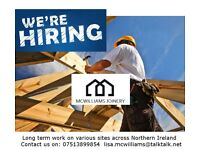 Experienced Carpenters Joiners Required for immediate start