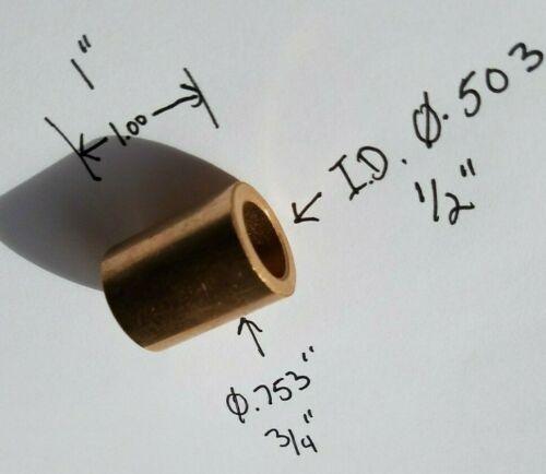 "1/2 X 3/4 X 1 sintered bronze bushing bearing sleeve  .503 x .753 x 1.00"""