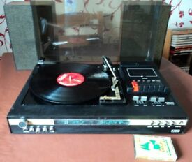 Vintage 1977 Music Centre Fidelity (Made in UK ) record player,cassette,radio + Speakers. All works