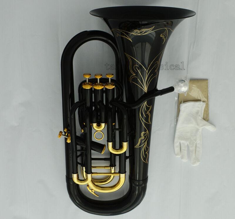 Professional New Black Euphonium Horn B-Flat 3+1 Key With Case
