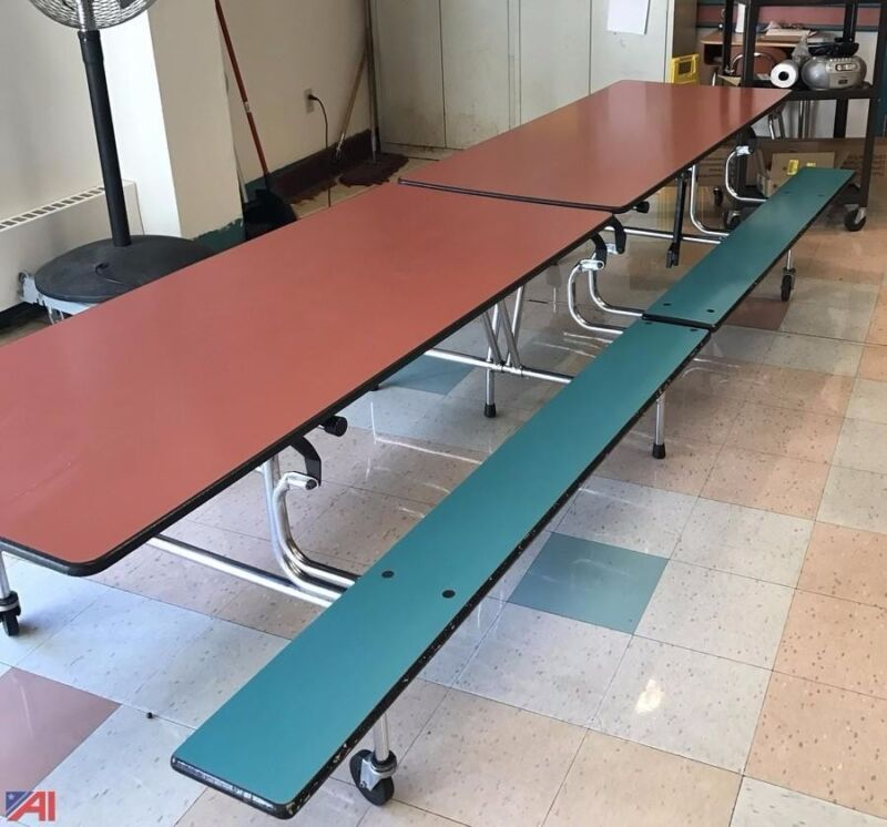 Lot of Used School Cafeteria Furniture - Mobile Foldable Lunchroom Table