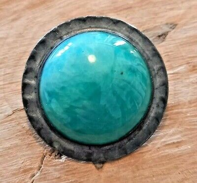 Arts & Crafts Pewter Round Brooch Ruskin Style Cabochon Green Stone Vintage