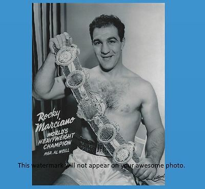 Rocky Marciano PHOTO Boxing Champ Holding Belt Heavyweight Champion Fighter