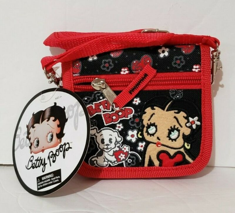 """New with Tag. Betty Boop Wallet with Shoulder Strap: Red and Black 4""""Hx4.75""""W"""