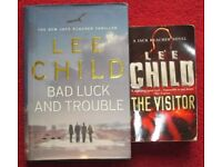 LEE CHILD, 2 BOOKS, THE VISITOR, BAD LUCK & TROUBLE, £1.00 PER BOOK, GC. SMOKE/PET FREE