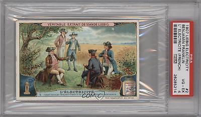 1907 Liebig Electricity 2 L'Electricite (Benjamin Franklin) PSA 4 VG-EX Card k5c