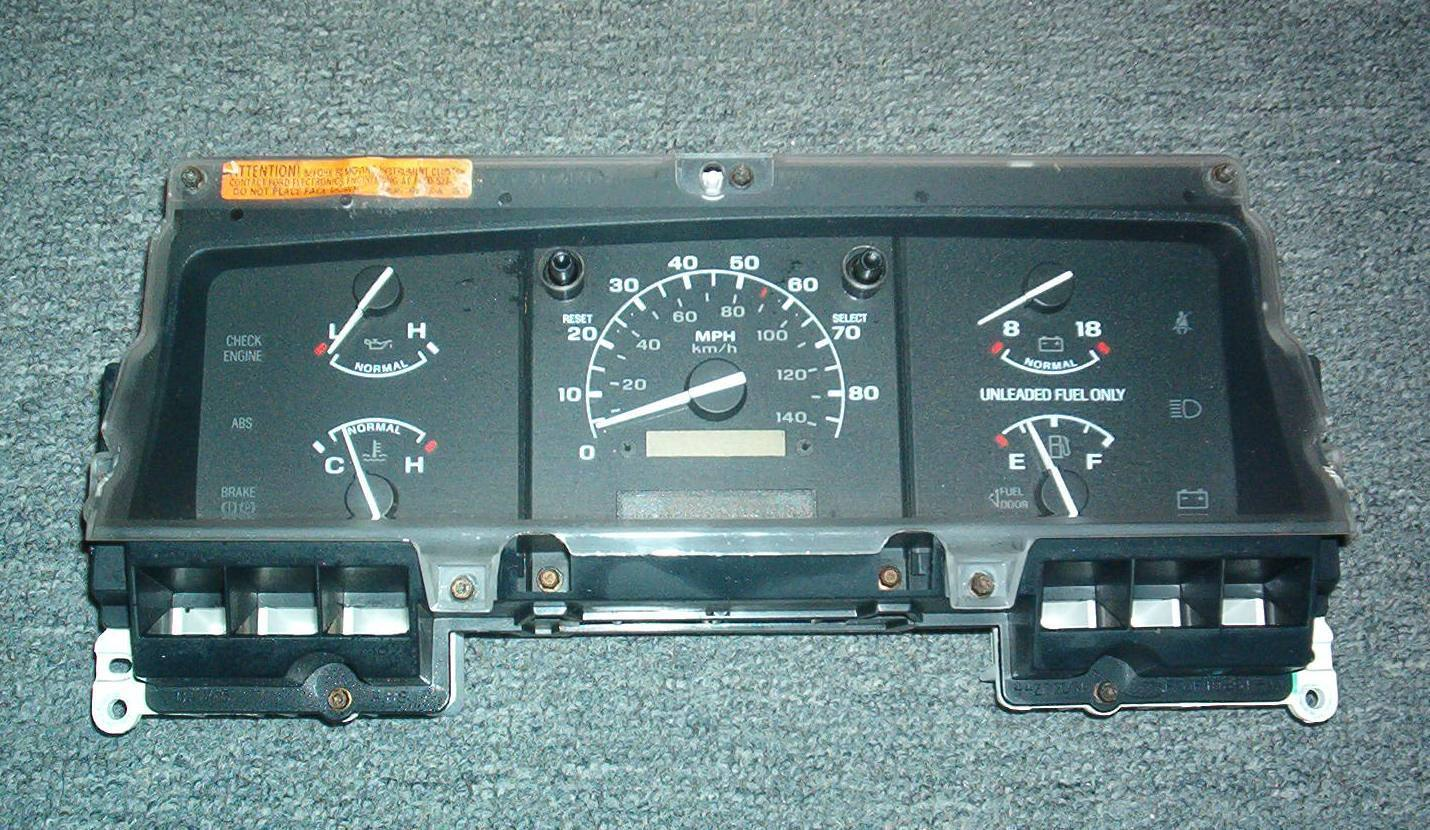 1994 1995 ford f2050 f2150 gas only instrument cluster speedometer mph no tach