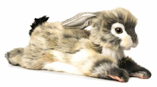 New Hansa Life Like Life-sized Handmade Stuffed Animal Floppy Ear Grey Bunny