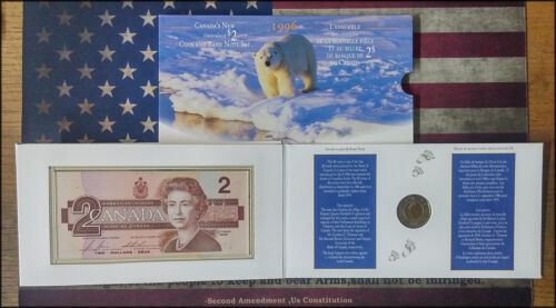 1996 $2 Coin, Stamp and 1986 Banknote Set Canada Post - BINo