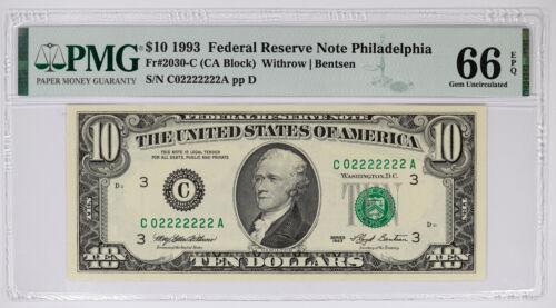 1993 FRN NOTE $10 PHILADELPHIA FR.2030-C PMG 66 GEM UNC EPQ - SERIAL NO (222A)
