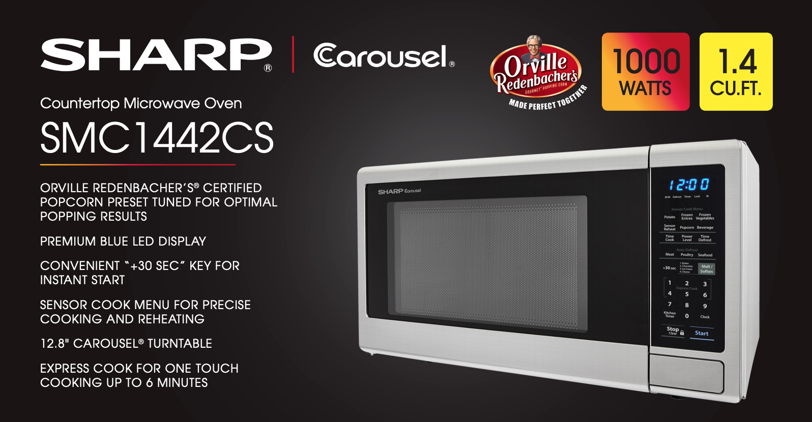 Sharp SMC1442CS Countertop Microwave Oven 1.4 cu ft  WHILE S