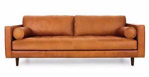 Sven Tan Leather Sofa Sydney City Inner Sydney Preview