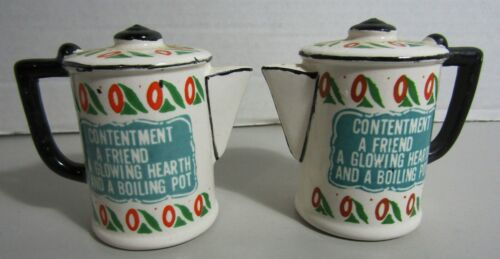 Vintage Coffee Pot Salt & Pepper shakers with Friendship Saying  - Japan