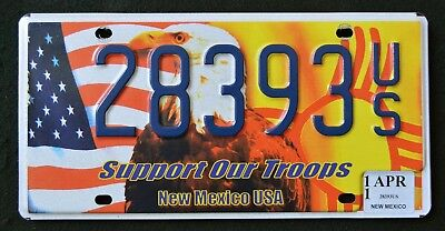 "New Mexico "" SUPPORT OUR TROOPS EAGLE FLAG "" NM Military Specialty License Plate"