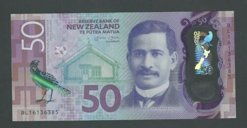 NEW ZEALAND 50 DOLLARS  2016  KOKAKO BIRD P-194 UNC