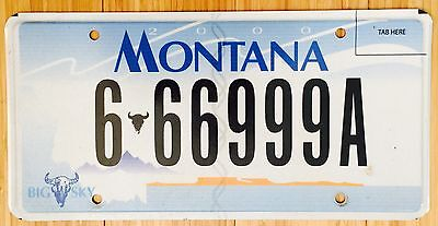 Montana License Plate Triple Numbers # 666 999 A