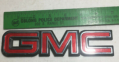 GMC Pickup Truck Red & Chrome Plastic Emblem 7 x 1 5/8 badge trim envoy sierra