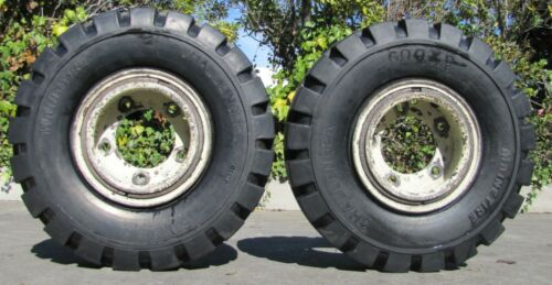 Pair of Maine Tire Challenger 600 x 9 Forklift New Tires With 5-Lug Rim