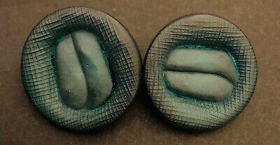 Pair Of Green Vintage Buttons Metal Shank Unusual Design