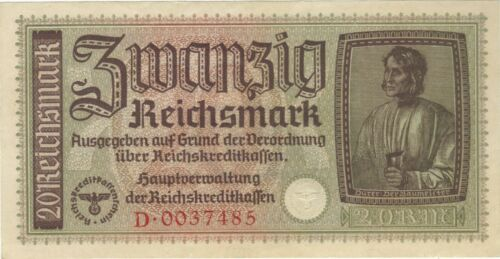 20 REICHSMARK NAZI GERMANY CURRENCY GERMAN BANKNOTE NOTE MONEY BILL SWASTIKA WW2