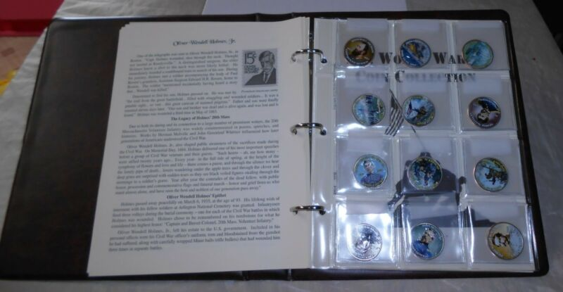 """CIVIL WAR COIN COLLECTION """"WWII"""" BOOKLET W/2 PANELS of COLORED COINS, 24, NICE!"""